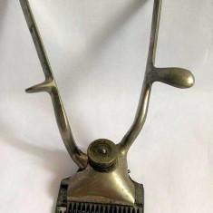 Masina tuns veche, mecanica, de mana, metal INOX, marca JNFANT, 14.5cm lungime