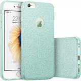Husa capac 3 in 1 din silicon cu sclipici pentru iphone 7, albastru - Husa Telefon