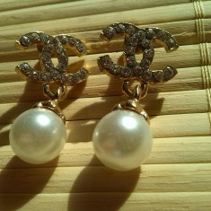Cercei gold filled cu cristale si perle - Cercei placati cu aur