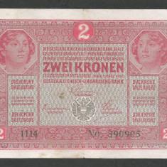 AUSTRIA AUSTRO-UNGARIA 2 KRONEN KORONA COROANE 1917 [8] P-21, VF - bancnota europa