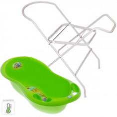 Pachet Cadita Piscot Safari cu Senzor de Temperatura si Suport Cadita - Verde - Cadita bebelusi