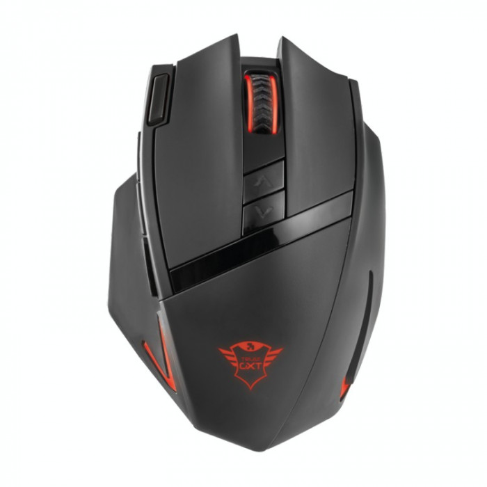 Mouse gaming wireless Trust GMS-504 , USB micro receiver , Optic , 2400 DPI , Negru/Rosu foto mare