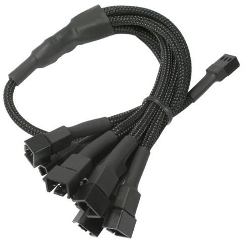 Cablu adaptor pentru ventilatoare Nanoxia 1x 3 pini la 9x 3 pini, 60 cm, negru foto mare