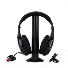 Casti wireless cu microfon si radio FM incorporat, Titanium Liberty