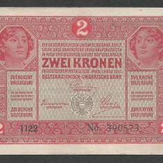AUSTRIA AUSTRO-UNGARIA 2 KRONEN KORONA COROANE 1917 [5] P-21, VF+ - bancnota europa