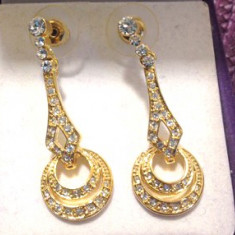 Cercei GAMA GUESS swarovski placati cu aur galben 18k si cristale zirconia