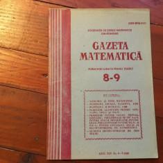 Revista / Gazeta matematica anul XCV nr 8-9 / 1990 ! - Revista scolara