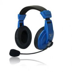Casti Vakoss Over-Head MH536B Black-Blue, Casti Over Ear, Cu fir, Mufa 3, 5mm
