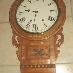 Deosebit ceas, pendula de perete antic Art-Deco mecanic, functional
