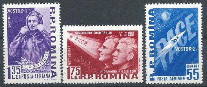 1961 Romania , LP 523 - Al II-lea om in cosmos-Vostok-MH foto mare