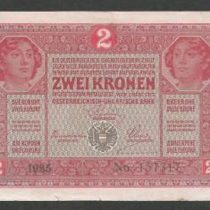 AUSTRIA AUSTRO-UNGARIA 2 KRONEN KORONA COROANE 1917 [6] P-21, VF+ - bancnota europa