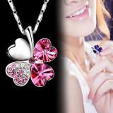 Lanț / Colier / Pandantiv Inima de cristal Trifoi Charm - Pandantiv fashion