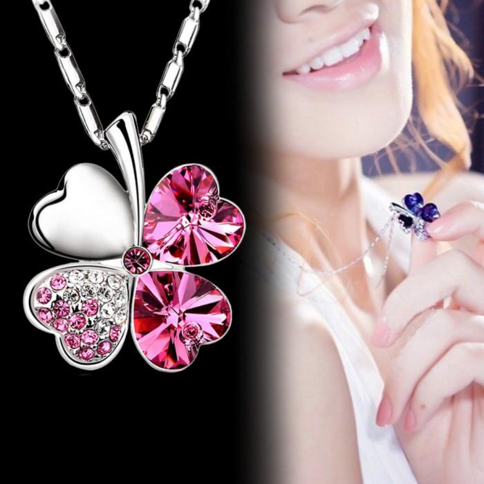Lanț / Colier / Pandantiv Inima de cristal Trifoi Charm foto mare