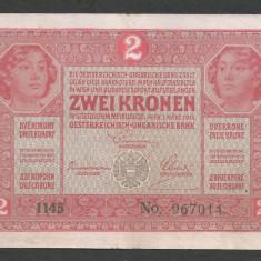 AUSTRIA AUSTRO-UNGARIA 2 KRONEN KORONA COROANE 1917 [10] P-21, F - bancnota europa