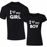 Set de tricouri negre I love my BOY/GIRL SN103 - Tricou dama