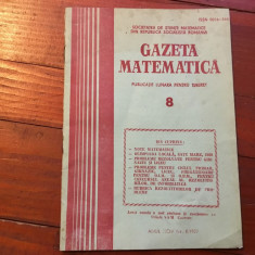 Revista / Gazeta matematica anul XCIV nr 8 / 1989 ! - Revista scolara