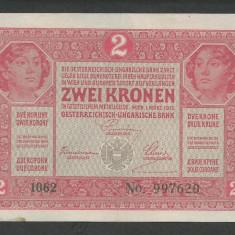 AUSTRIA AUSTRO-UNGARIA 2 KRONEN KORONA COROANE 1917 [10] P-21, VF - bancnota europa