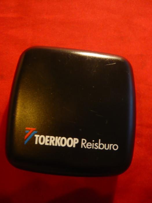 Ceas de Voiaj cu baterie -Taerkoop Reisburo , dim. 4,5x4,5 cm foto mare
