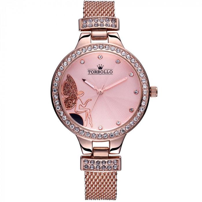 Ceas dama cu quartz, culoare aur roz foto mare