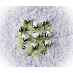 Cocarde nunta - trandafir spuma si funda organza