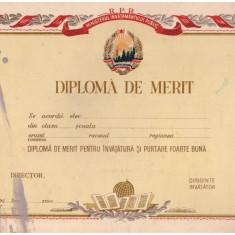 Diploma de merit invatamant RPR, anii '50, necompletata - Diploma/Certificat