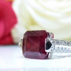 Inel aur 14k cu diamante si rubin 2.31ct - Inel aur alb