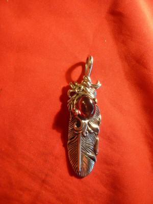 Medalion deosebit inox cu  piatra semipretioasa , L=6,7cm foto