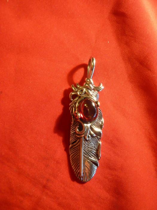 Medalion deosebit inox cu  piatra semipretioasa , L=6,7cm foto mare