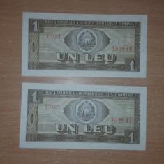 1 Leu 1966 2 Serii consecutive unc - Bancnota romaneasca
