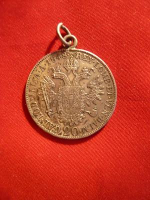 Moneda 20 kr. 1848 Ferdinand Austria ,argint, agatatoare- medalion , cal.f.buna foto