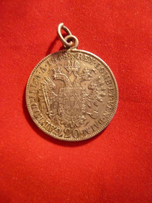 Moneda 20 kr. 1848 Ferdinand Austria ,argint, agatatoare- medalion , cal.f.buna foto mare