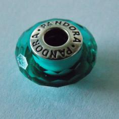Talisman Pandora autentic 791619 Sticla murano fatetata verde - Pandantiv argint