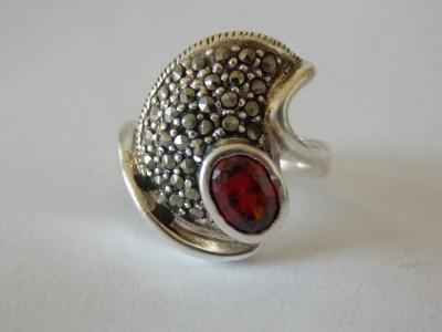 Inel argint cu zirconiu si marcasite foto