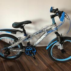 Bicicleta copii 20 inch echipata Shimano 18 viteze frane V-Brake - 6-9 ani, Aluminiu, Unisex