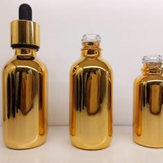 Sticlute 30ml pentru uleiuri sau parfumuri aurii albastre si maro - Sticla