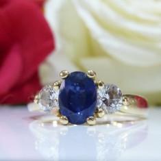 Inel safir si diamante 1.5ct