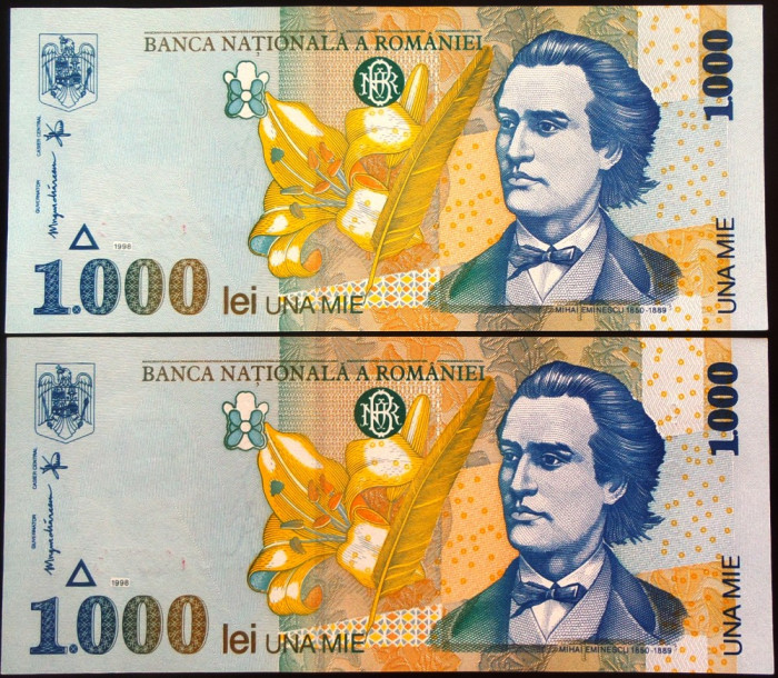 Lot/Set 2 Bancnote Necirculate Serii Consecutive ROMANIA- 1000 Lei 1998 *cod 559 foto mare