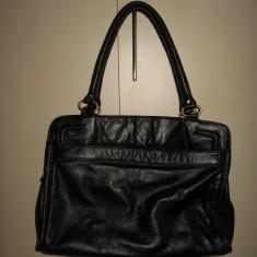 Geanta piele naturala neagra, mare - Geanta Dama, Culoare: Negru