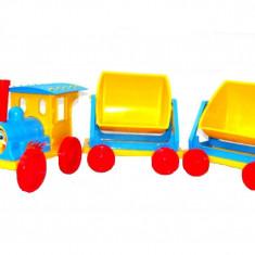 Trenulet pentru copii Doloni cu doua vagoane albastru cu galben