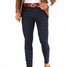 Pantaloni bleumari carouri - pantaloni barbati casual office slimfit 8978, Marime: 29, 30, 31, 33, 34, Culoare: Din imagine