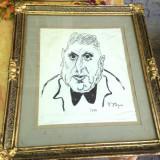 Schita / Desen / Tablou - Portretul lui Iosif Iser - Semnat Nicolae Popa - Tablou autor neidentificat, Scene gen, Cerneala, Altul