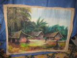 Peisaj pictat african vechi, ulei pe panza, semnat.