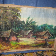 Peisaj pictat african vechi, ulei pe panza, semnat. - Pictor strain, Peisaje, Realism