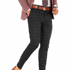 Pantaloni gri carouri grena - pantaloni barbati casual office slimfit 8981, Marime: 29, 30, 31, 33, 34, Culoare: Din imagine