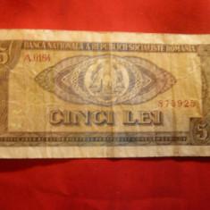 Bancnota 5 lei 1966 Romania, cal. medie - Bancnota romaneasca