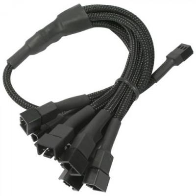 Cablu adaptor pentru ventilatoare Nanoxia 1x 3 pini la 9x 3 pini, 60 cm, negru foto