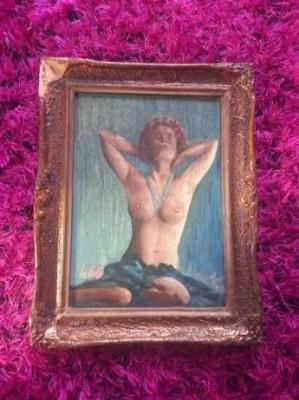 Tablou Nud Vechi Pictura Franceza Pe Panza Semnata foto