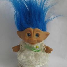 Papusa Troll (pitic, trol) mireasa, cauciuc tare, 12cm, par albastru