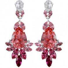 Cercei cu cristale swarovski rose Pear Crowned Layla 5, 8 cm - Cercei Swarovski