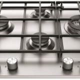 Plita Hotpoint Ariston Gaz 4 arzatoare wok gratare din fonta integrata Inox